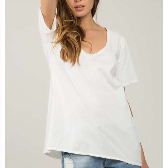 bf7d818521bbba Desired Collection Tops | 2left Deep V Neck Cotton T Ivory | Poshmark